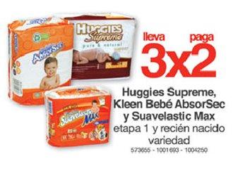 Farmacias Benavides: 3x2 en pañales Huggies, KleenBebé y Suavelastic