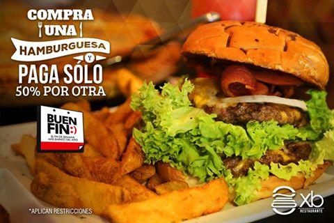 Buen Fin 2016 en XB Restaurante (Cancún): Compra una hamburguesa y llevate la segunda al %50.
