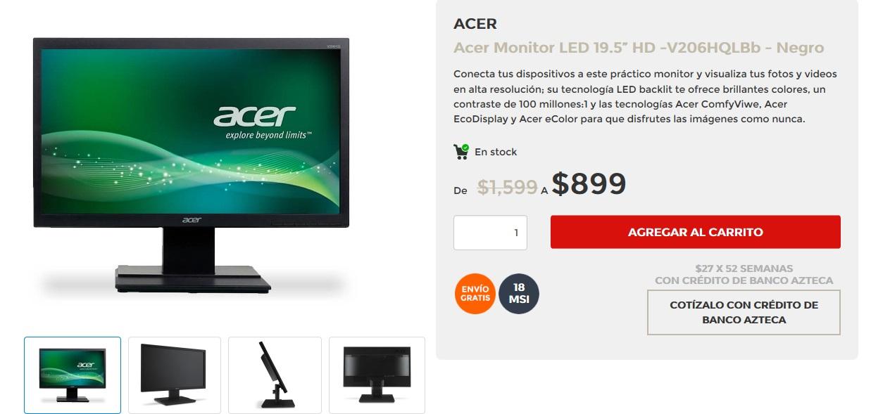 "Buen Fin 2016 Elektra: Monitor Acer 19.5"" $899"