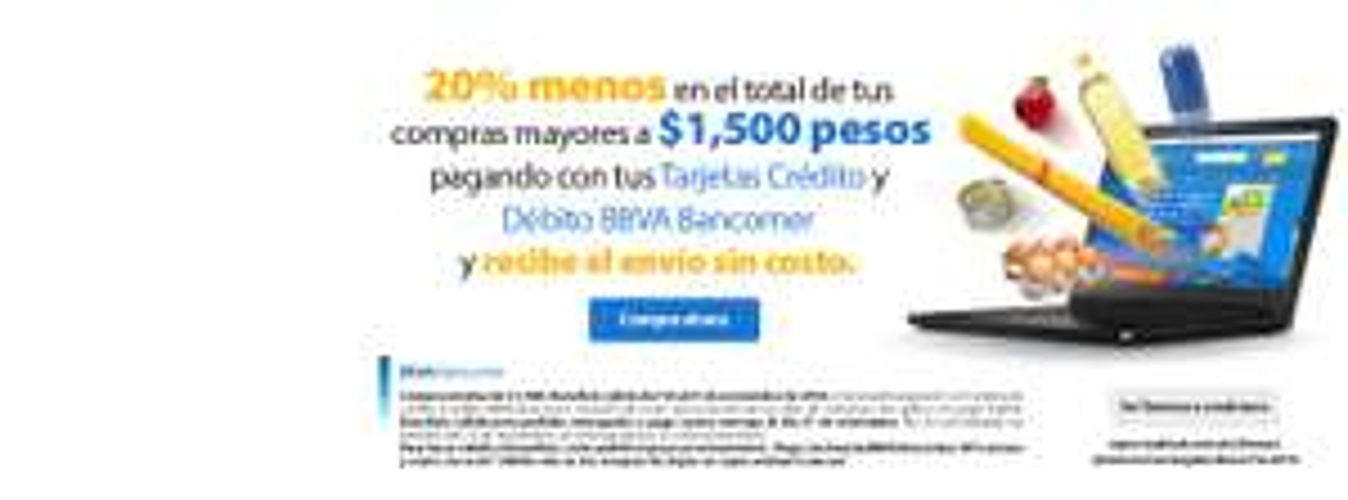 Buen Fin 2016 Walmart Super: 20 % de descuento pagando con Bancomer y envío gratis en compras mayores a $1,500