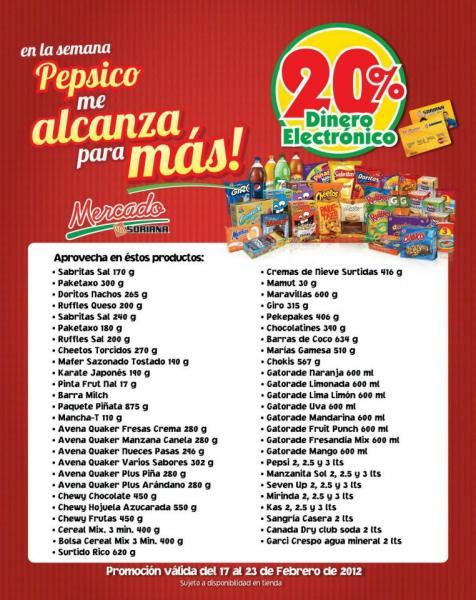 Semana Pepsico en Soriana: 20% en monedero electrónico
