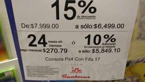 Sanborns: consola PS4 Slim Fifa 2017 en $5,849 pesos