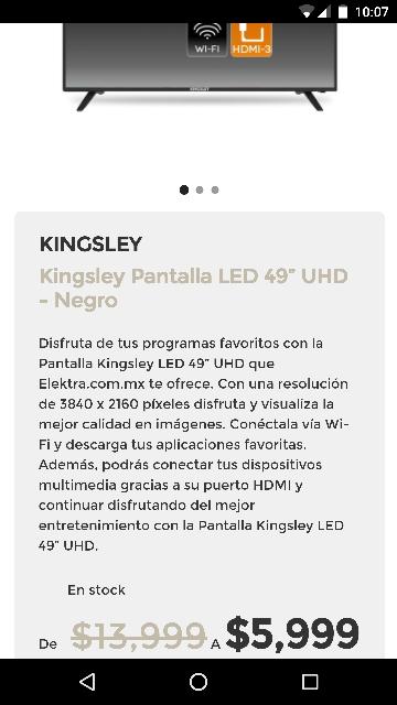 El Buen Fin 2016 en Elektra: pantalla Kingsley 4k, Smart TV 49 pulgadas