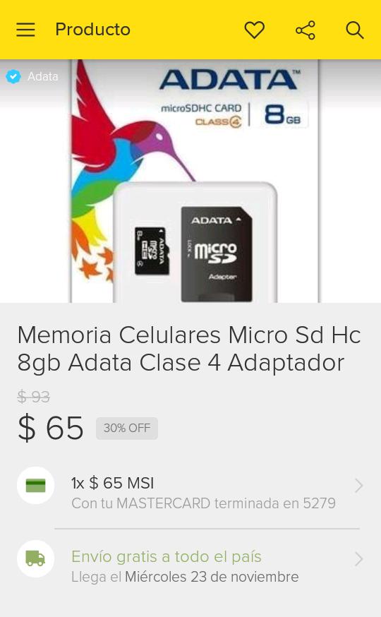 Adata en Mercadolibre: MicroSD 8G ADATA ENVIO GRATIS