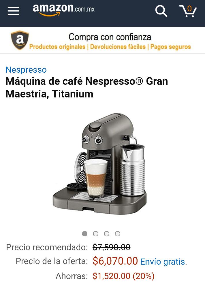 Buen Fin 2016 Amazon: Nespresso Gran Maestria $1,500 pesos de descuento y cupon $400 pesos para capsulas