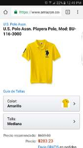 Buen Fin 2016 Amazon: México U.S. Polo Assn. Playera Polo, talla mediana