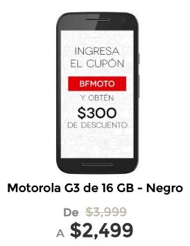 El Buen Fin en Elektra: Moto g3 16gb desde $1954.66 con cupón BFMOTO más 2 meses de Banamex