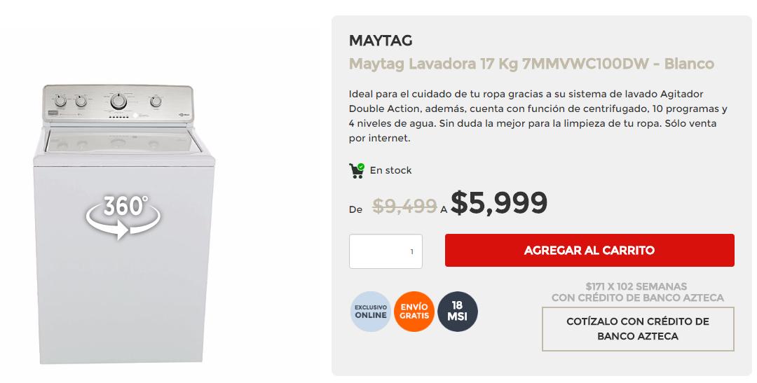 El Buen Fin 2016 en Elektra: Lavadora Maytag 17 kg de $9,499 a $5,999