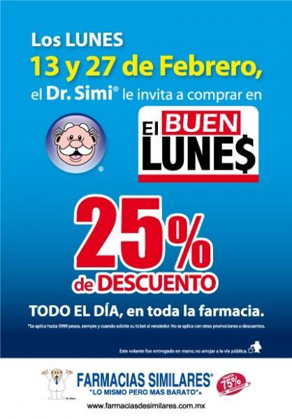 Farmacias Similares: 25% de descuento en todo el 13 y 27 de febrero
