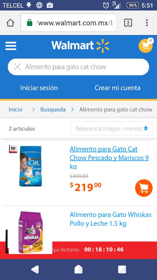 Buen FIn 2016 Walmart: Alimento para Gato Cat Chow Pescado y Mariscos 9 kga $219.00