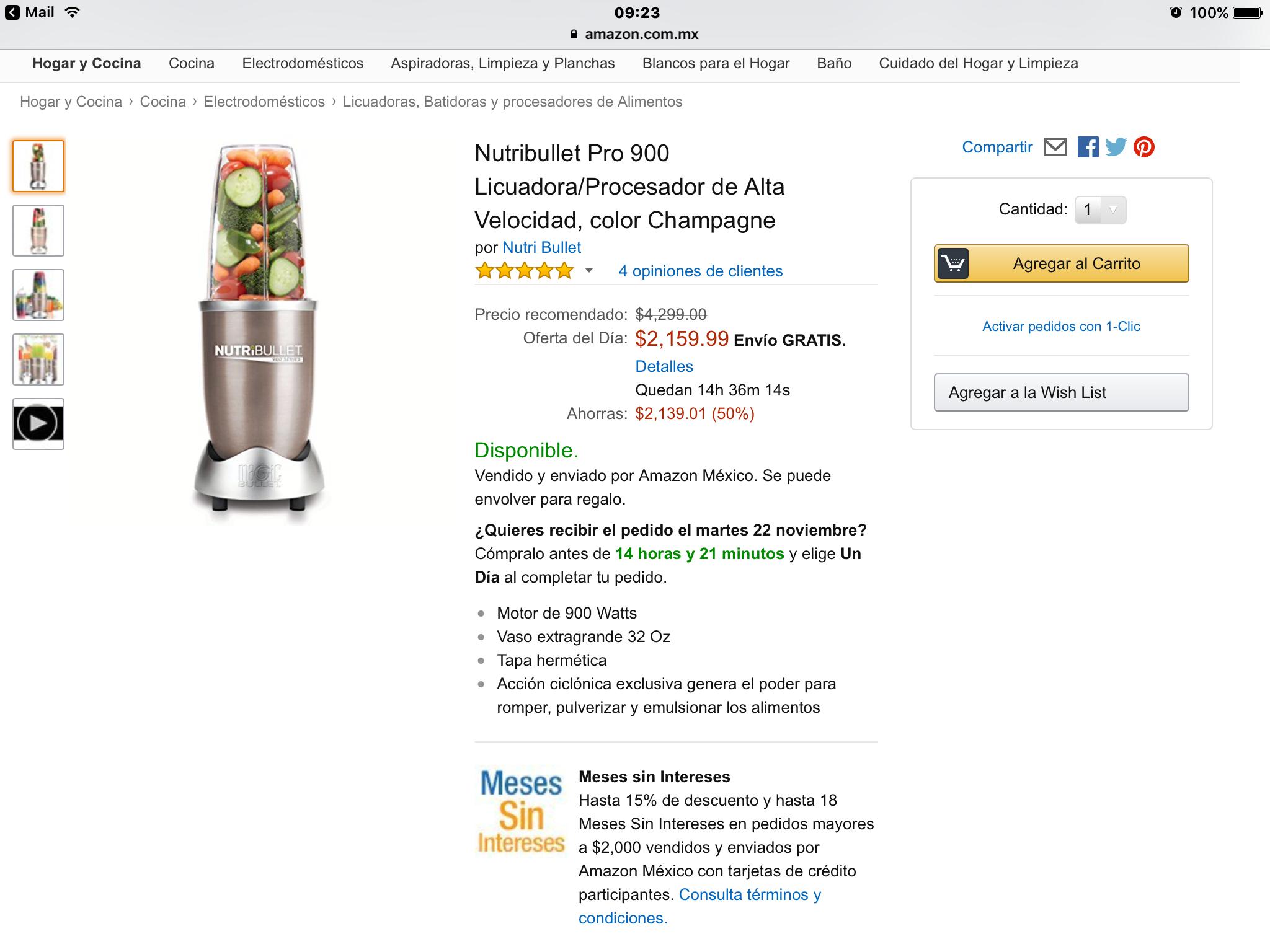 El Buen Fin 2016 Amazon: Nutribullet serie 900W ($1920 pagando con Banamex)