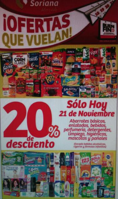 Buen Fin 2016 Soriana Mercado: 20% de descuento en abarrotes, perfumeria, pañales y mas.