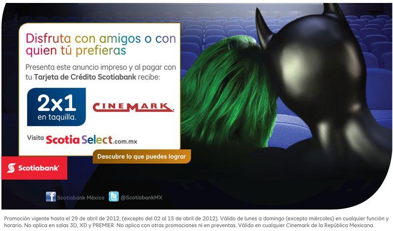 Cinemark: 2x1 pagando con Scotiabank (con cupón)
