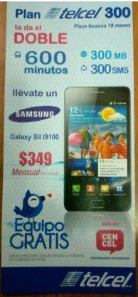 Samsung Galaxy SII gratis en plan Telcel 300 o más x menos 3 a 18 meses (actualizado)