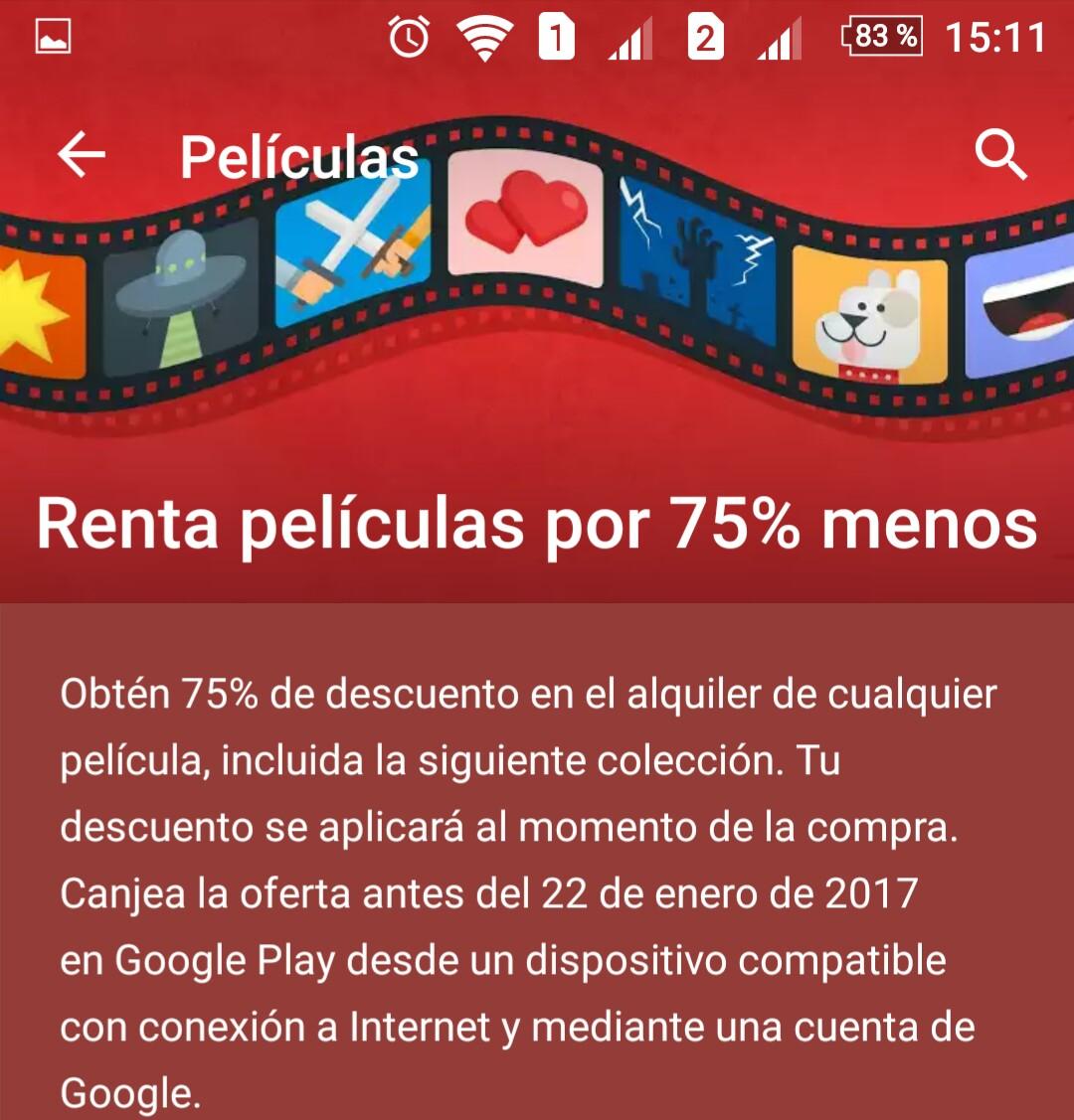 Google Play: Renta de película con 75% menos