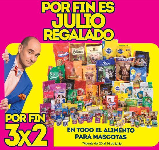 Ofertas de Julio Regalado en La Comer: 3x2 en alimento para mascotas