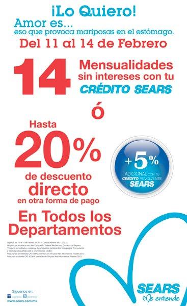 Sears: hasta 20% de descuento directo en toda la tienda o 14 MSI