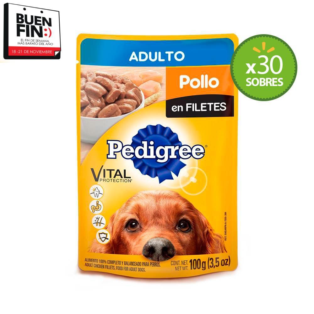 Walmart caja de 30 sobres de pedigree en 159 pesos