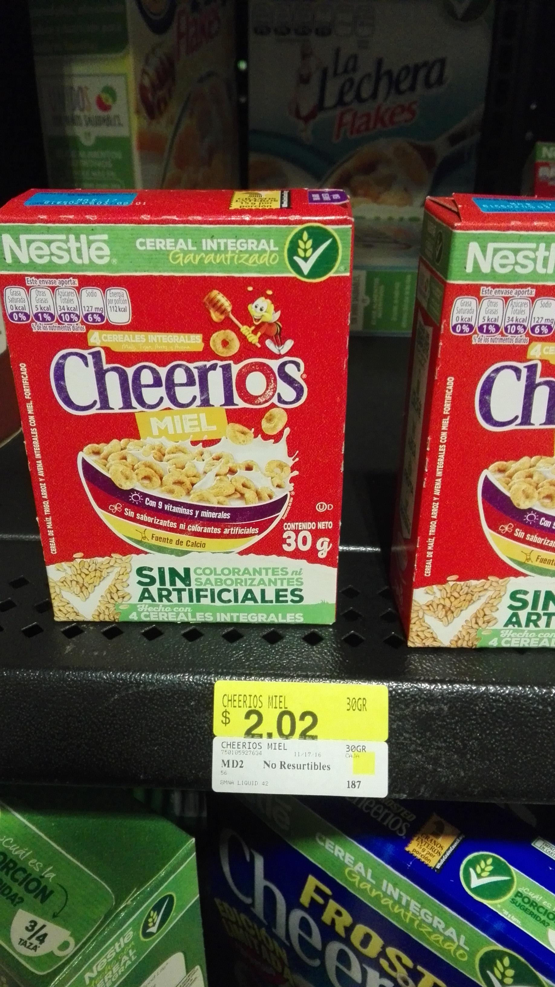 Walmart Cuemanco: Cheerios miel de 30 gr a $2.02