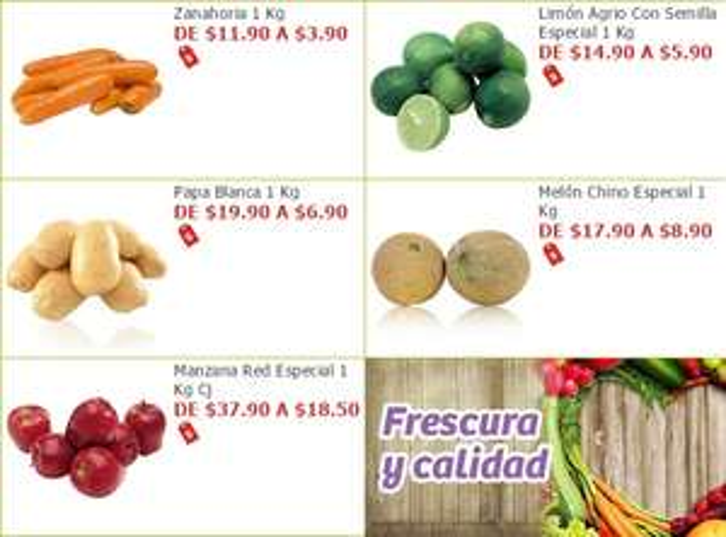 Soriana Híper y Súper: Zanahoria $3.90 kg. Limón $5.90 kg. Papa $6.90 kg. Melón $8.90 kg. Manzana $18.50 kg.