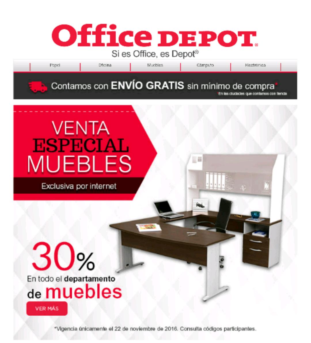 Office Depot en linea: 30% de descuento en el departamento de muebles.