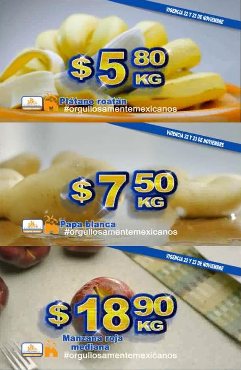 Chedraui: Martimiércoles de Frutiverduras 22 y 23 de Noviembre: Plátano $5.80 kg; Papa $7.50 kg; Manzana $18.90 kg; Aguacate Hass $27.90 kg.