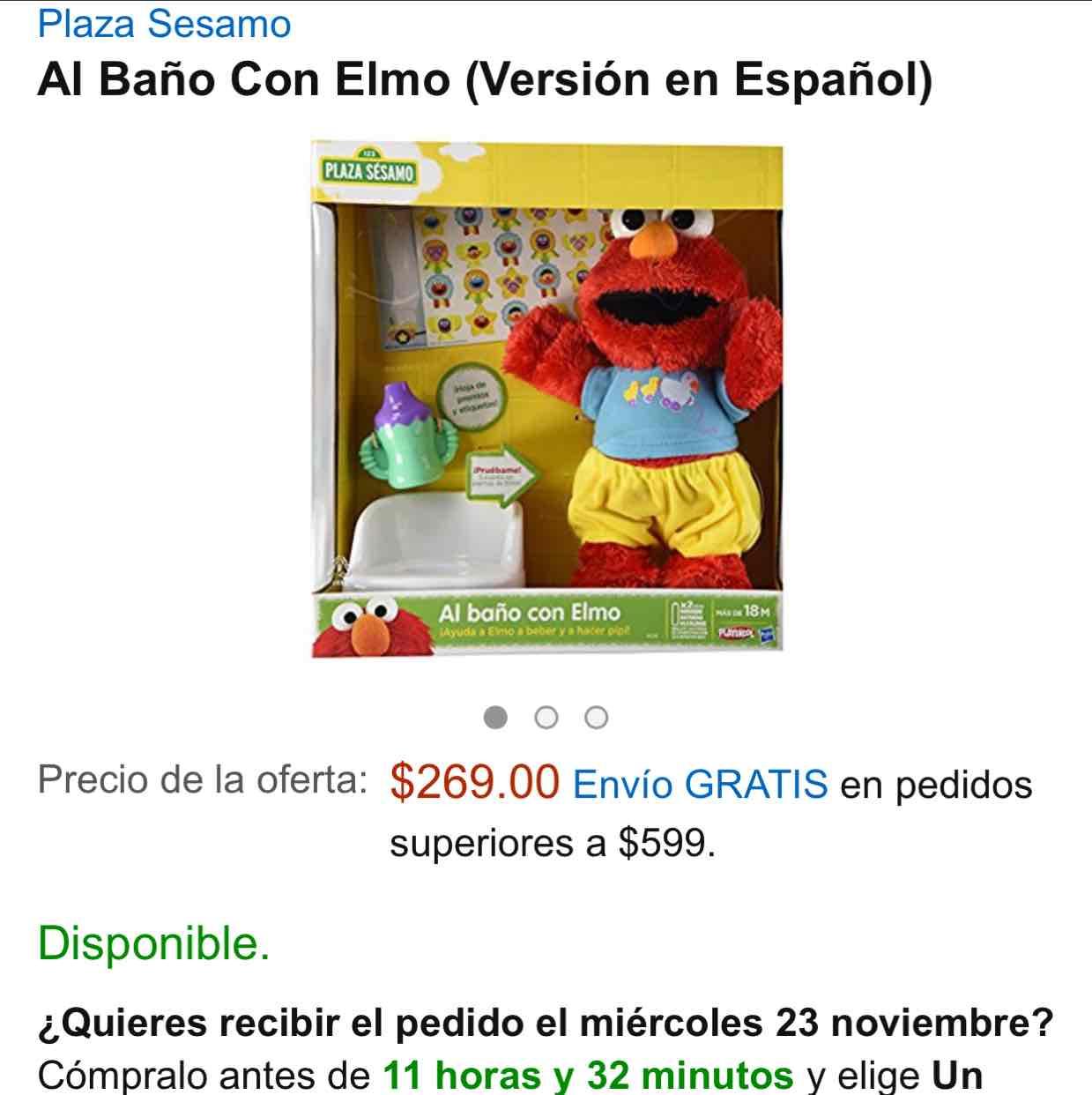 Amazon: Al Baño Con Elmo (Versión en Español) a $269