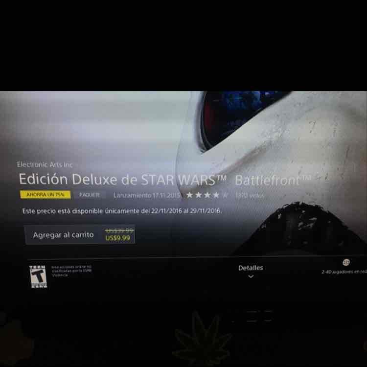 Playstation Network: Battlefront Edición Deluxe de Star Wars a $9.99 USD con PLUS