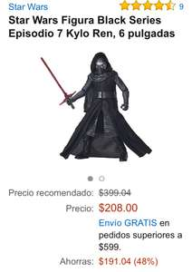 "Amazon MX: Kylo Ren 6"" Black Series a $208"