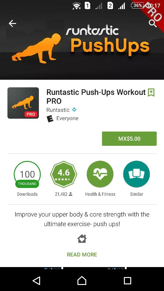 Google Play: Runtastic Push-Ups Workout PRO & Runtastic Sit-Ups PRO en $5 pesos
