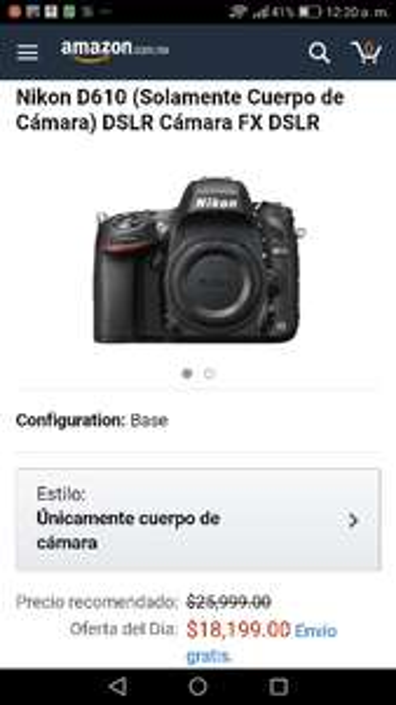 Amazon: Nikon D610 sólo cuerpo $18,199