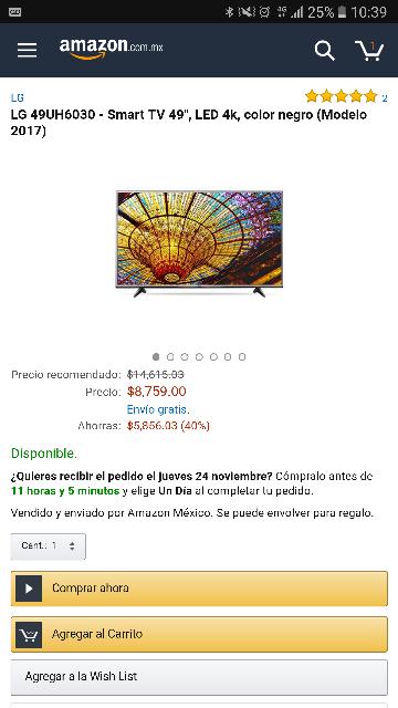 "Amazon México: LG 49UH6030 - Smart TV 49"", LED 4k, color negro (Modelo 2017)"