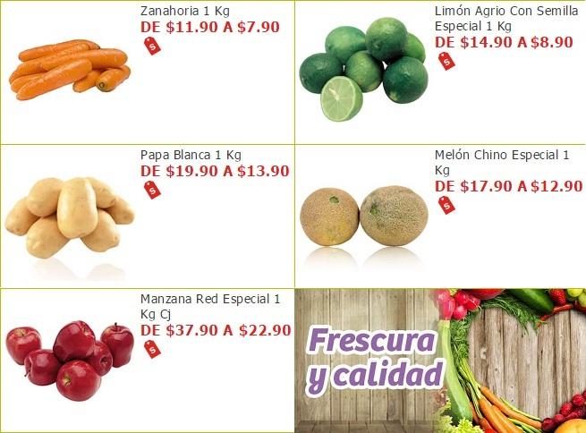 Soriana Híper y Súper: Zanahoria $7.90 kg. Limón $8.90 kg. Papa $13.90 kg. Melón $12.90 kg. Manzana $22.90 kg.