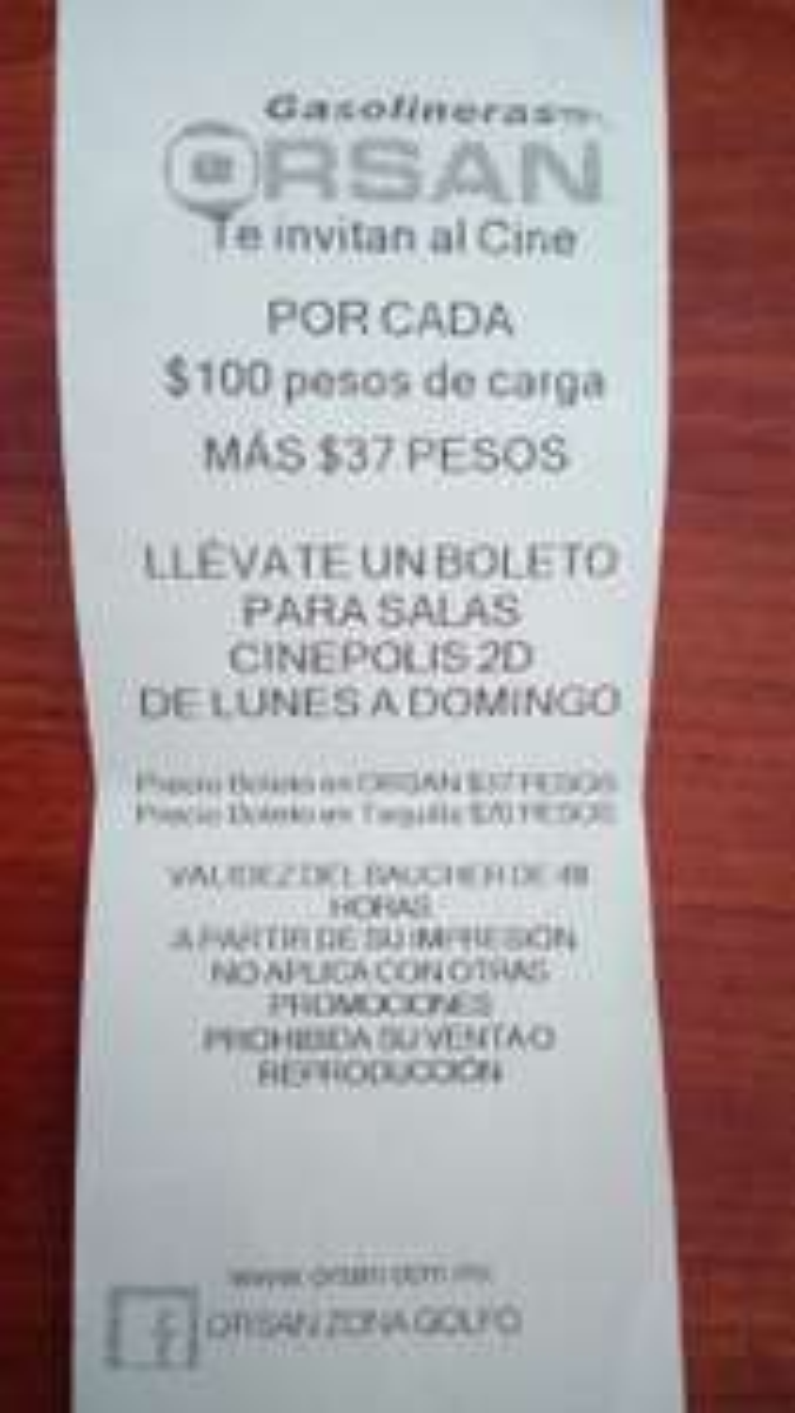 Orsan Cd. del Carmen: Boleto para Cinépolis 2D por $37 al cargar al menos $100 de gasolina