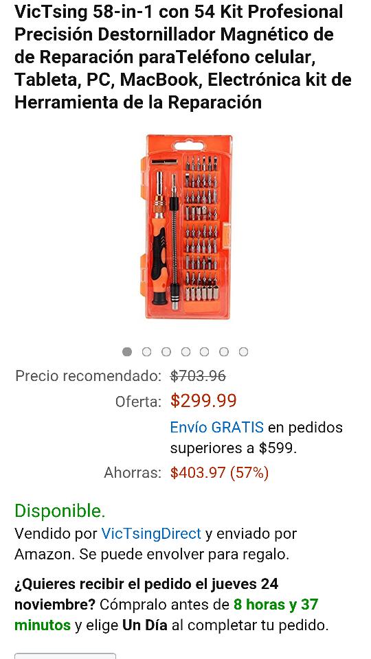 Amazon: Destornillador Magnético de Reparación paraTeléfono VicTsing 58-in-1