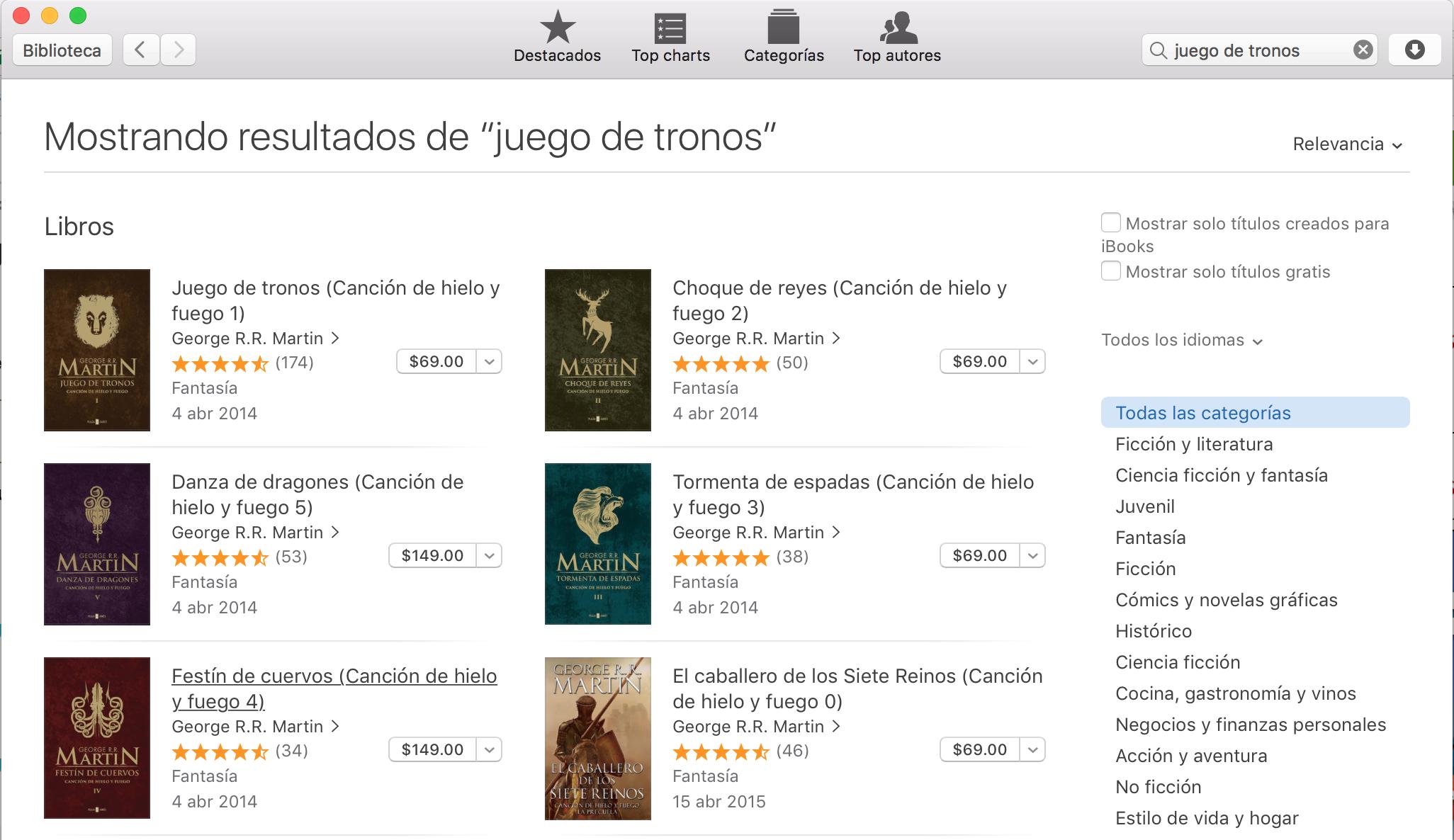 App Store: (iBook, iTunes) Juego de Tronos Libros Canción de Hielo y fuego 0, 1, 2 & 3