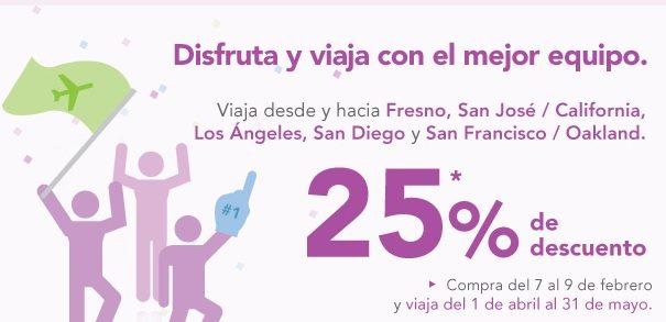 Volaris: 25% de descuento en vuelos a California