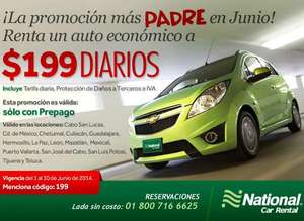 National Car Rental: renta de coche $199 por día con seguro