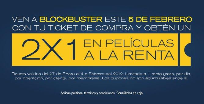 Blockbuster: 2x1 en rentas este domingo