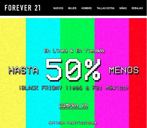Forever 21: Hasta 50% off por Black Friday en Línea y en Tiendas