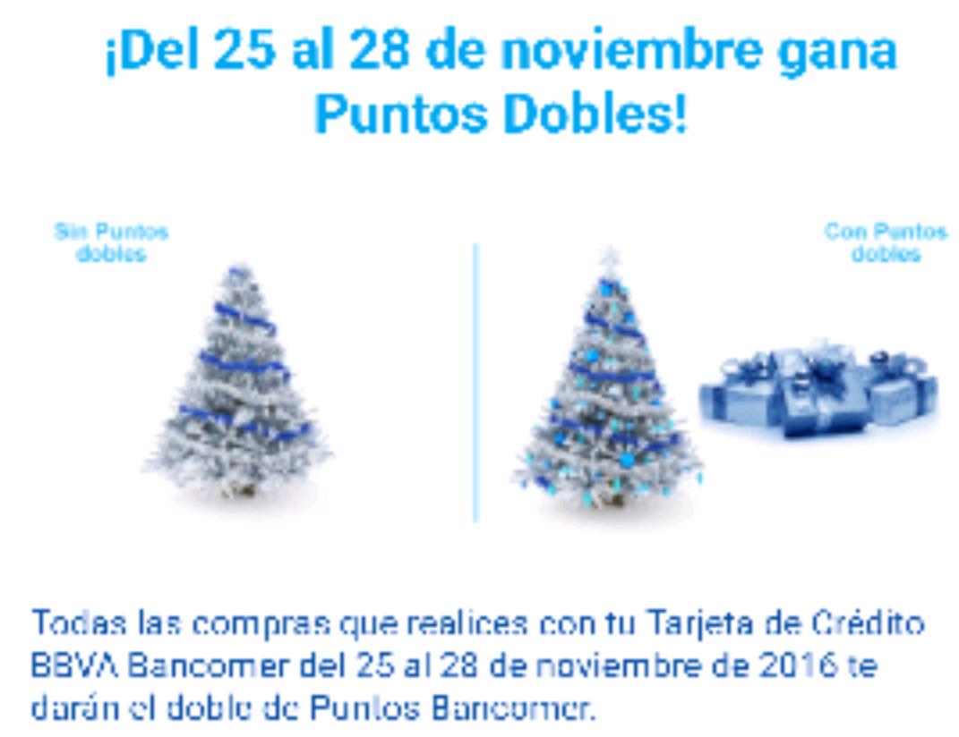Bancomer: Puntos dobles del 25 al 28 de noviembre