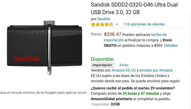 Black Friday 2016 Amazon: SanDisk usb otg 32gb 3.0 SDDD2-032G-G46 Ultra Dual USB Drive
