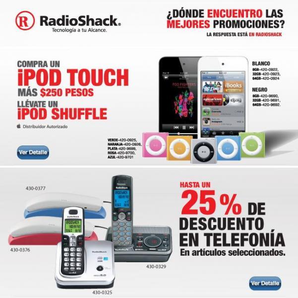 RadioShack: compra iPod Touch y por $250 llévate un iPod Shuffle