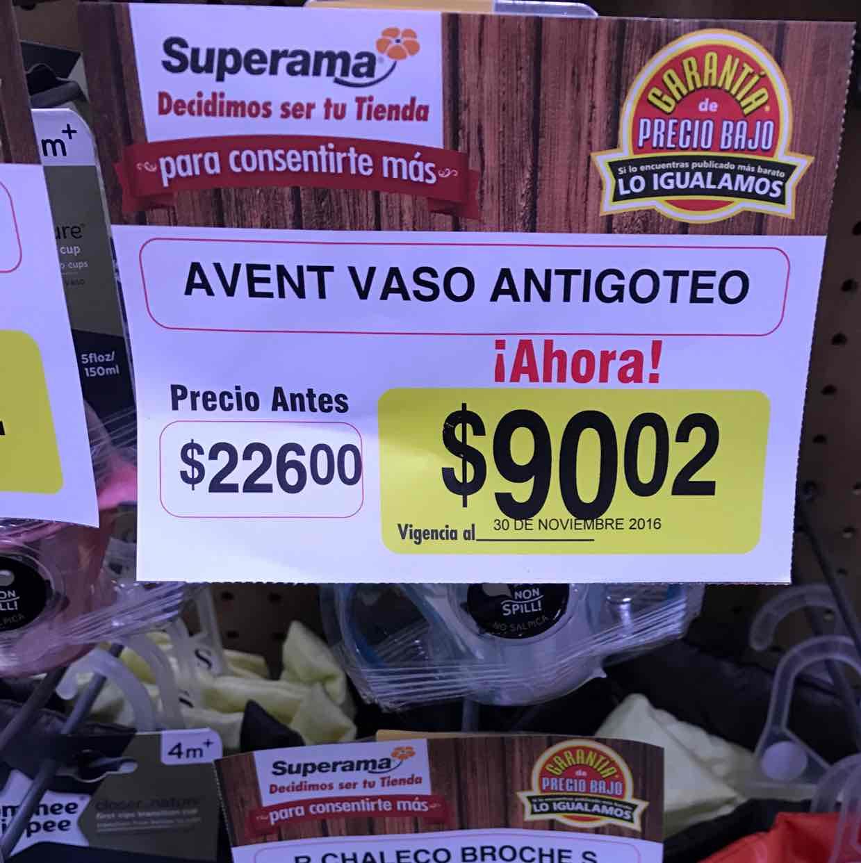 Superama: vaso antigoteo a $90.02