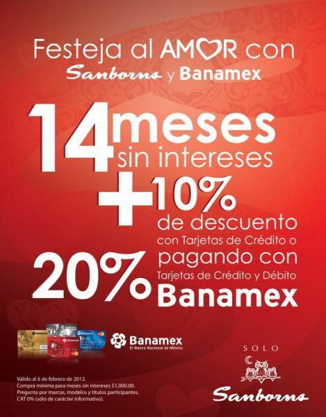 Sanborns: 14 MSI y 10% de descuento o 20% de descuento con Banamex