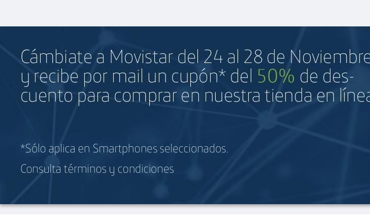 Cyber Monday en Movistar: cupón del 50% en celulares selecionados si haces portabilidad