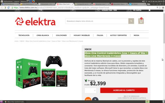 Elektra: Xbox One Control Inalámbrico Gow + Gears of War + Xbox Live Membresía 3 meses