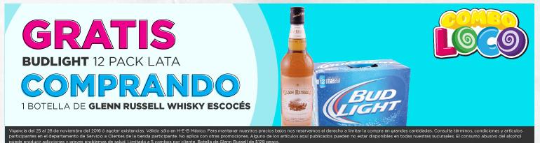 Black Friday 2016 en HEB: Compra 1 Botella de Whisky Escoces Glen Russell y Gratis 12 Pack Cerveza Budligh 355 ml. Adicional otras ofertas Viernes Negro