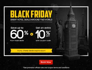 Black Friday 2016 en hotels.com: cupón de 10%