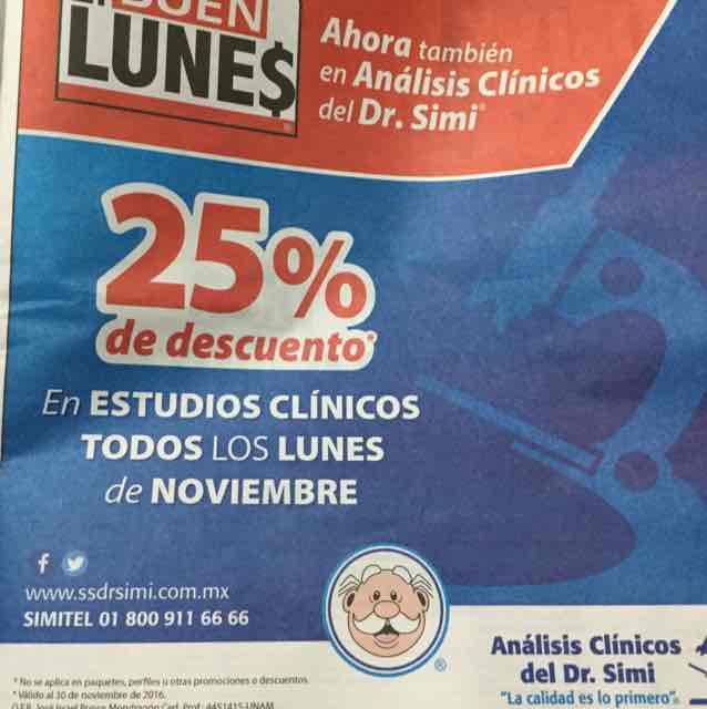 Descuento análisis clínicos Dr. Simi